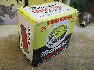 ORIGINAL FEDERAL MONARK TARGET LOAD EMPTY PAPER shot shell box 12 gauge SHOTGUN