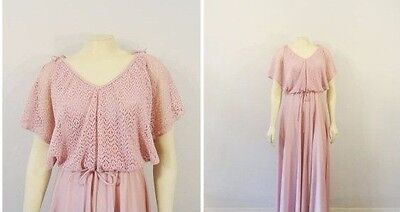 Vintage Dress 60s 70s GORGEOUS Pink Knit Lace Overlay Bodice Full Skirt Maxi 7/8