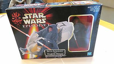 "Star Wars Episode I Sith Speeder and Darth Maul 3.75"" Figure - New in Sealed Box"