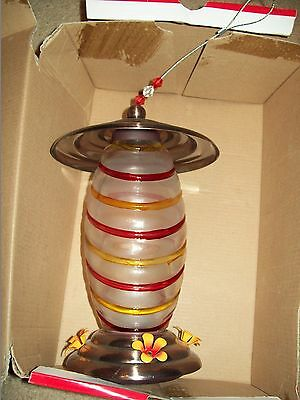 Hummingbird Feeder  Glass Center With A Brass Top And Bottom With Flowers