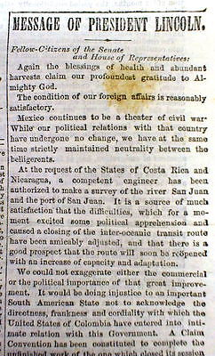 1862 Civil War newspaper PRES ABRAHAM LINCOLN 's last STATE OF THE UNION ADDRESS
