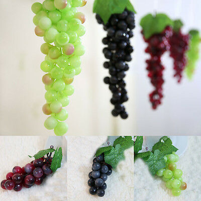 Delicate 1Bunch Lifelike Man-made Grapes Plastic Fake Fruit Food Home Decoration