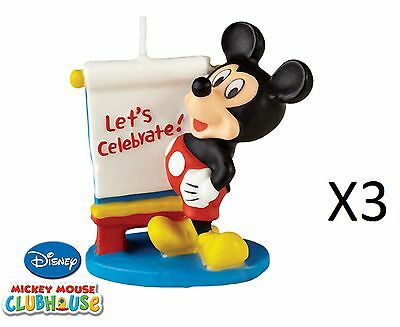 Wilton Mickey Mouse Clubhouse Cake Candle, Birthday Cake Cupcake New (3-Pack)