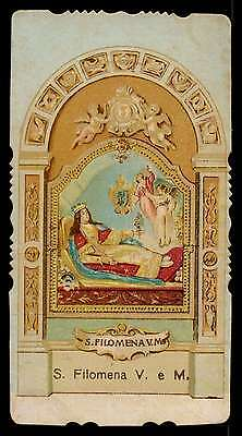 ST PHILOMENA TOMB & ANGELS Old DIE CUT HOLY CARD