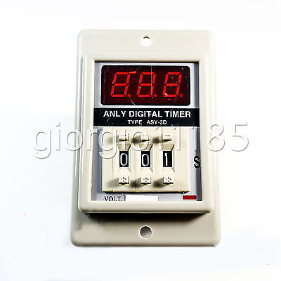 US Stock ASY-3D 1-999m DC12V Power On Delay Timer Digital Time Relay 8P W/ Base