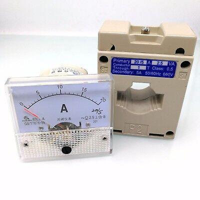 US Stock Analog AMP Current Panel Meter Gauge AC 0-20A 85L1 &Current Transformer