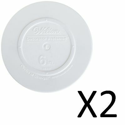 Wilton Decorator Smooth Edge Plate 6 Inch White Fresh Clean Shape (2-Pack)