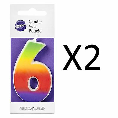 "Wilton 3"" Multicolor Rainbow Numeral 6 Decorative Birthday Cake Candle (2-Pack)"