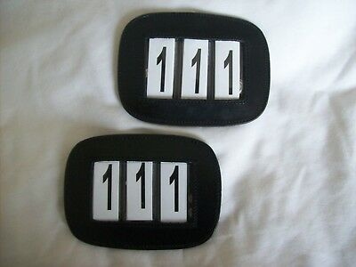 Pair of Leather Bridle Number Holders*Shows/Dressage/Competitions*BLACK / BROWN