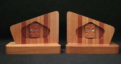 Fab Vintage Maori Tiki New Zealand Native Timber Bookends Sovereign Mid Century