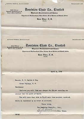2 Old 1926 Dominion Chair Co Bass River Nova Scotia Letterheads