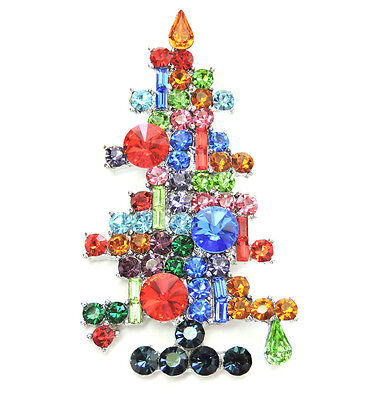 Gorgeous Multicolors Crystal Candles Christmas Tree Pin Brooch  C544