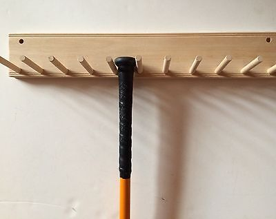 Baseball Bat Rack Natural Finish Meant To Hold 10 Full Size Standard Bat
