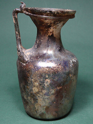 Ancient Glass Jug With Handle Silvery Patina Roman 100-300 Ad
