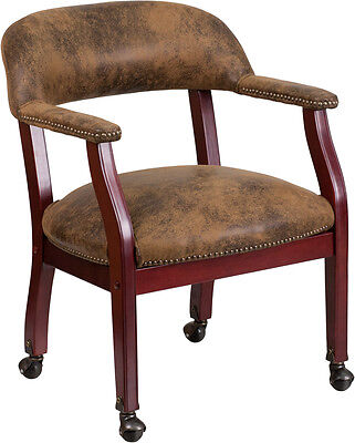 Lot of 8 Bomber Jacket Brown Traditional Poker Table Chairs