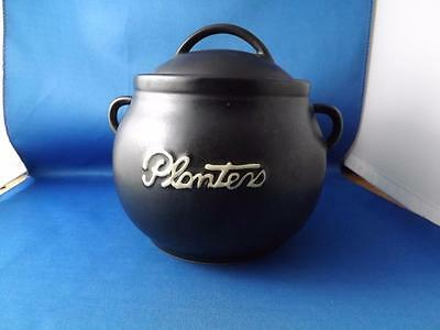 Planters Nut Pot Cookie Jar With Lid Black White Raised Letters Advertising