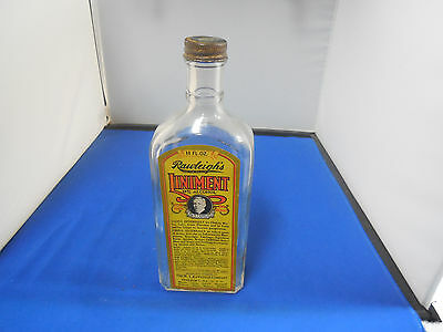 """Vintage Rawleigh""""s Liniment Bottle With Label & Cap"""