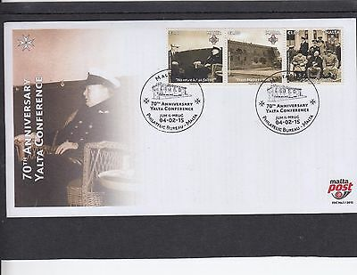 Malta 2015 Yalta Conference Churchill Stalin Roosevelt MS FDC Jum ll-hrug pict p