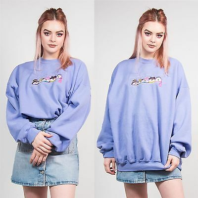 Womens Vintage Lilac Christmas Sweatshirt Jumper Sweater Snowman Cute Festive 22
