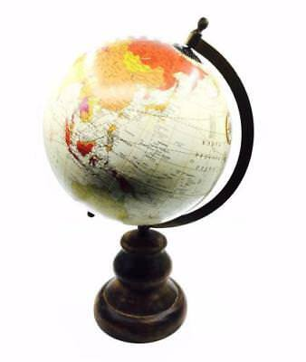 Vintage Style Large Antique World Globe 36cm With Wooden Stand HM1181