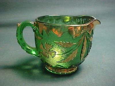 Green Delaware Early American Pattern Glass Cream Pitcher 1000 Islands 1901