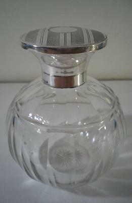 An Antique Glass & Silver Topped Perfume Bottle : Birmingham 1916