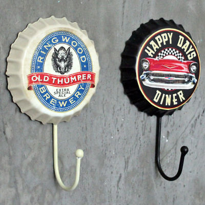 Retro Metal Sign Tin Beer Bottle Cap Cover Hook Pub Club Bar Cafe Home Wall Deco