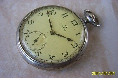 AN OMEGA MANUAL WIND POCKET WATCH WITH STAINLESS STEEL CASE c.1935