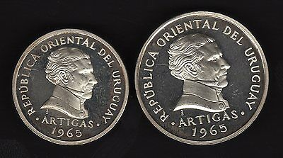 Uruguay 20 And 50 Centesimos 1965, Ultra Rare Silver Essai, Unc Condition
