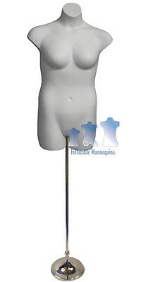 """Female Plus Size White and Tall Adjustable Mannequin Stand with 8"""" Trumpet Base"""