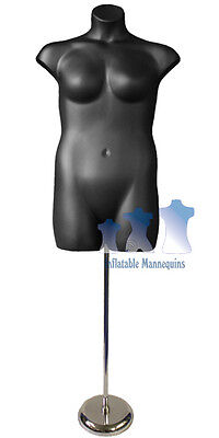 """Female Plus Size Black and Tall adjustable Mannequin Stand with 8"""" Round Base"""