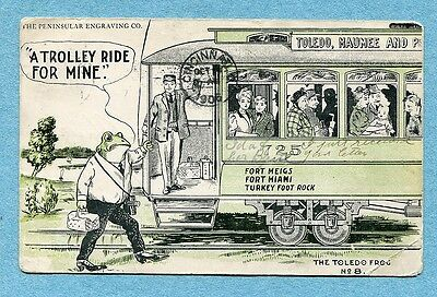 P3735 Toledo Frog postcard, Trolley, Frog #8, Ft Miami, Used 1906