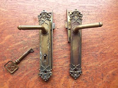 Two Antique Fancy Victorian Brass Door or Cabinet Latches & Locks with Key 1885