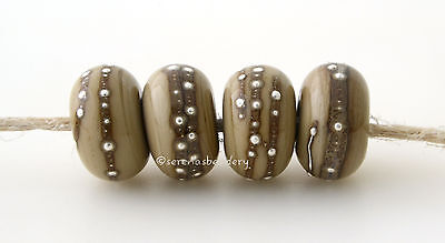 4 SAGE Brown with Fine Silver Dots - Handmade Lampwork Glass Beads - taneres