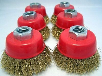 "(6 pack) 2.5"" Cup Brush 5/8-11nc brass coated crimped wire 0.012-inch 0.3mm"