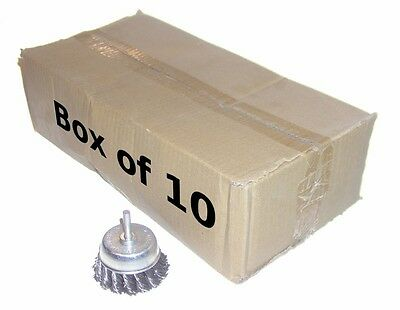 "Box of 10 - 2.5""  Knot Cup Brushes 1/4"" Shaft shank wire drill mandrel"