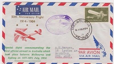 Stamp 5d green 50th anniversary first flight Bergen airmail cachet cover signed