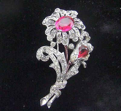 Vintage 1940 Trifari Alfred Philippe Crystal Flower Bouquet Patented Fur Clip