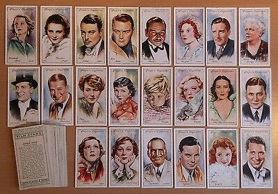 JOHN PLAYER, FILM STARS (2nd Series) 1934. 49 cigarette cards from set of 50.
