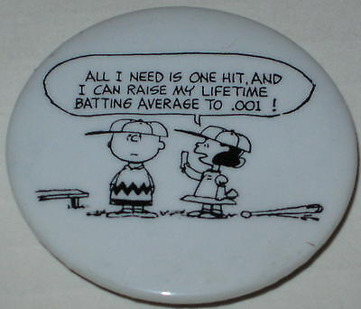 "Charlie Brown ""......Lifetime Batting Average of .001!"" Pin"