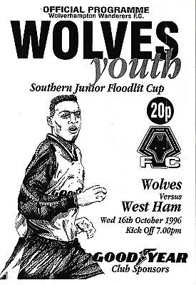Football Programme WOLVES YOUTH v WEST HAM UNITED YOUTH Oct 1996