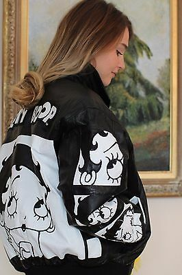 American Toons Mens Womens Black White Leather Jacket Coat Betty Boop Small NEW
