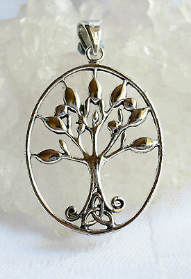 Tree of Life Celtic Triskel Triquetra Solid 925 Silver Pendant~Reiki~Jewellery