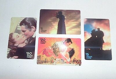 Set of (4) Different Gone With The Wind Sample Phone Cards