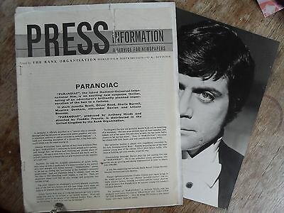 1960,s Hammer Film Paranoiac Press Information Pack With Oliver Reed Photograph