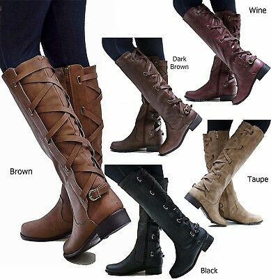 New Womens Gc1 Cognac Brown Black Buckle Riding Knee High Cowboy Boots