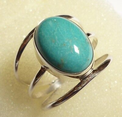 Size US 8 1/2 (Q 1/2) 925 Sterling Silver Triple Band Natural Turquoise Ring