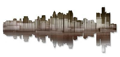 Detroit Reflection II Contemporary City Painting on Metal Wall Art by Ash Carl
