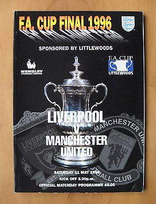 1996 FA Cup Final LIVERPOOL v MANCHESTER UNITED VG Condition Football Programme