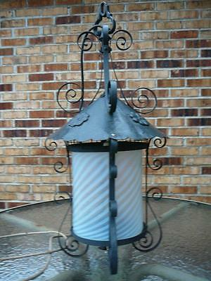 Rare Large Industrial Antique School Iron Lantern Light Chandelier  & Bracket